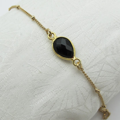Bracelet une pierre or onyx noire