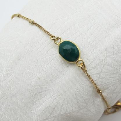 Bracelet une pierre or sillimanite verte