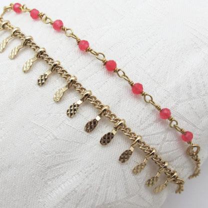 Bracelet double or fin pierres fines agate rose