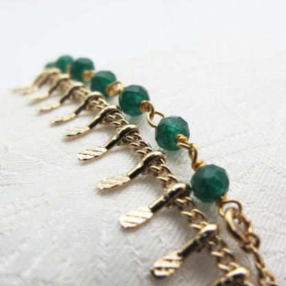 Bracelet double or fin pierres fines agate verte
